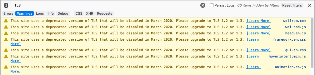 Firefox DevTools console warning