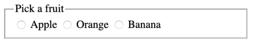 radio buttons, all unchecked, apple orange banana