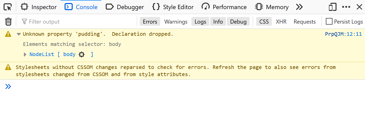 The console highlighting a CSS error