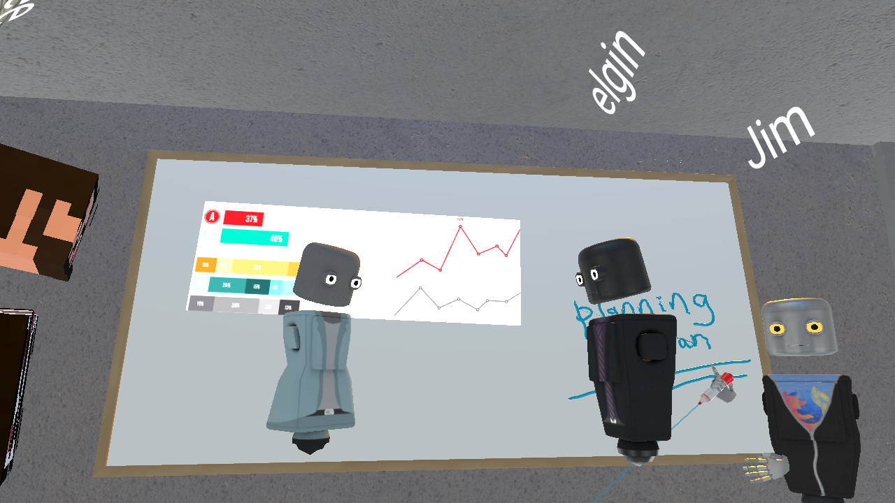 Four avatars in Hubs stand around a white board in a shared 3D space. The whiteboard has a chart in the background.