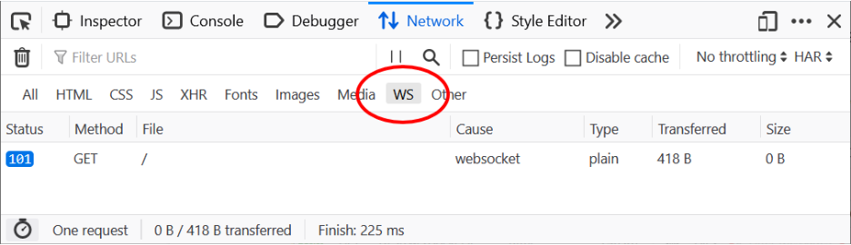 A screenshot of the Network Monitor panel showing the WS inspection feature