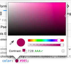 a color picker showing color contrast information between the foreground and background colors