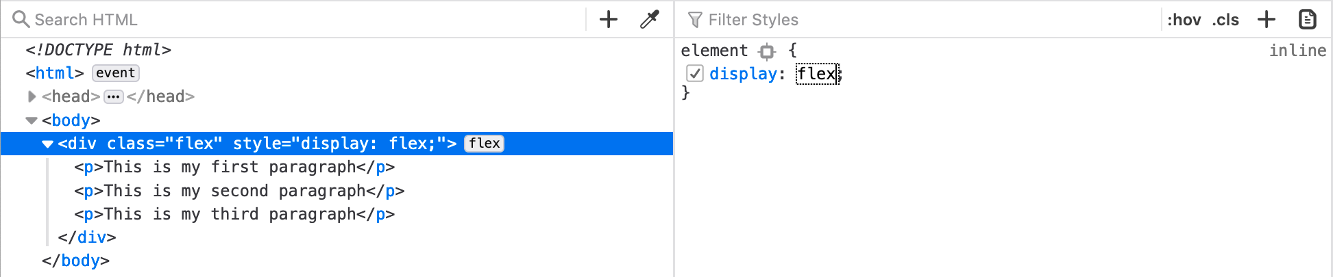 using the rules inspector in firefox to fix the problem with display: flex
