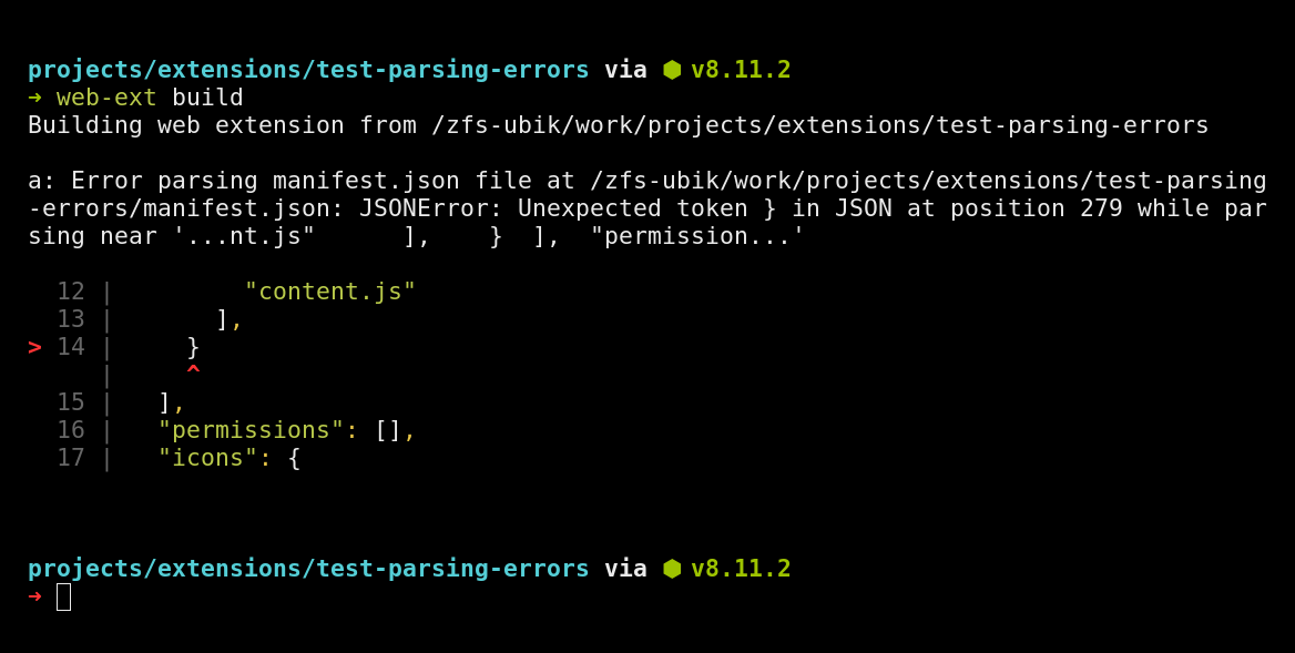 Detailed JSON parsing error logged from web-ext 3.2.0
