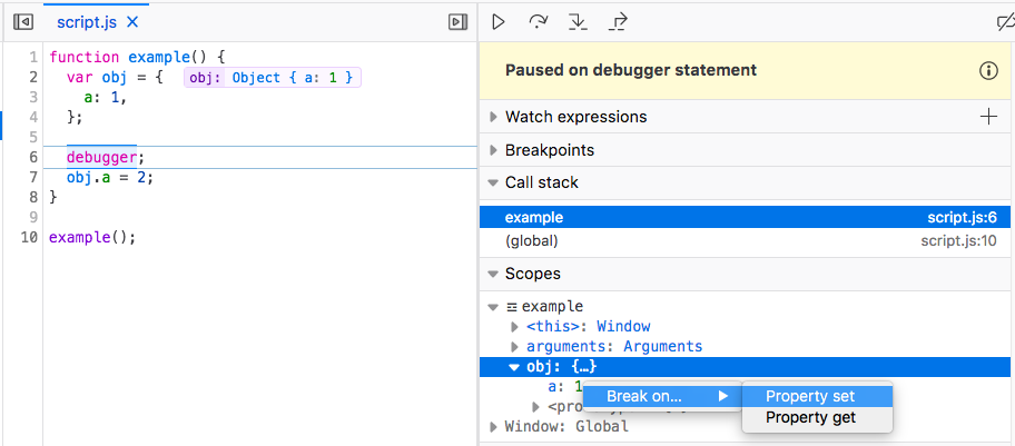 Screenshot of the 'Scopes' pane in the Debugger, with the menu showing where to add a set or get watchpoint