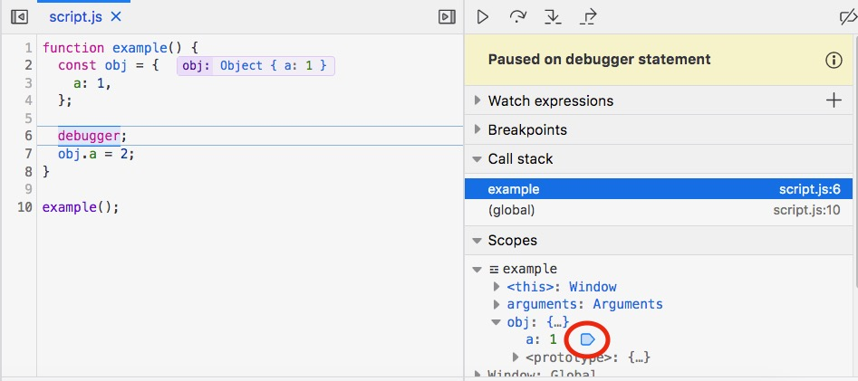 Screenshot of the debugger pane, once you've let the debugger inform you when properties are set.
