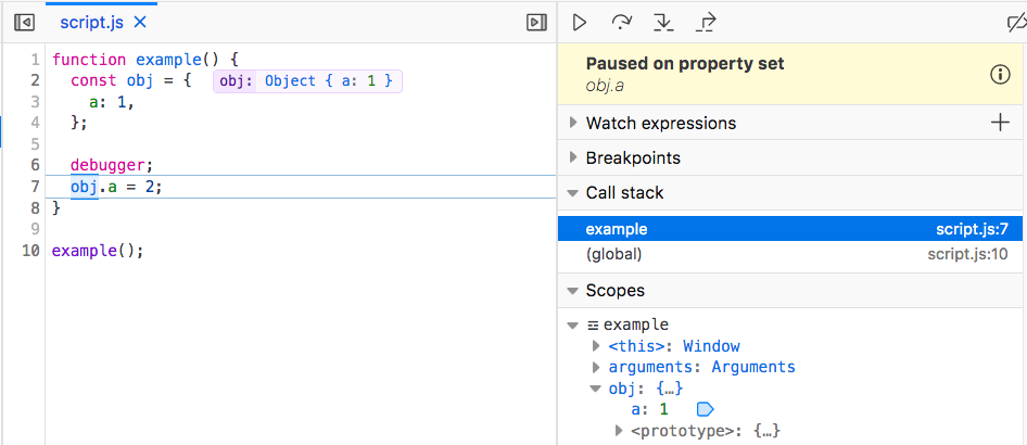 Screenshot of the debugger when it is paused for a set breakpoint