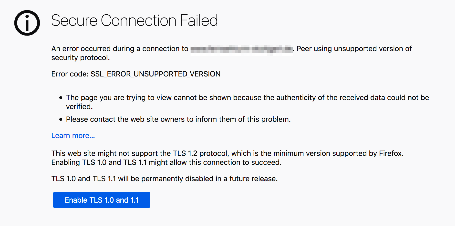 """screenshot showing """"Secure Connection Failed"""" message that allows user to override the TLS 1.0 and 1.1 deprecation"""