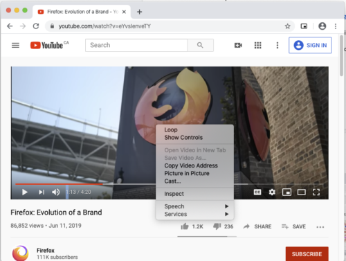 """The Chrome web browser playing a video, with the context menu for the video element hovering over top of it. """"Picture in Picture"""" is one of the menu items."""