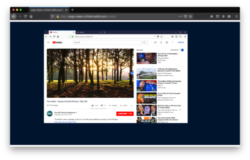 A screenshot of a YouTube page with a small blue rectangle on the right edge of the video, center aligned