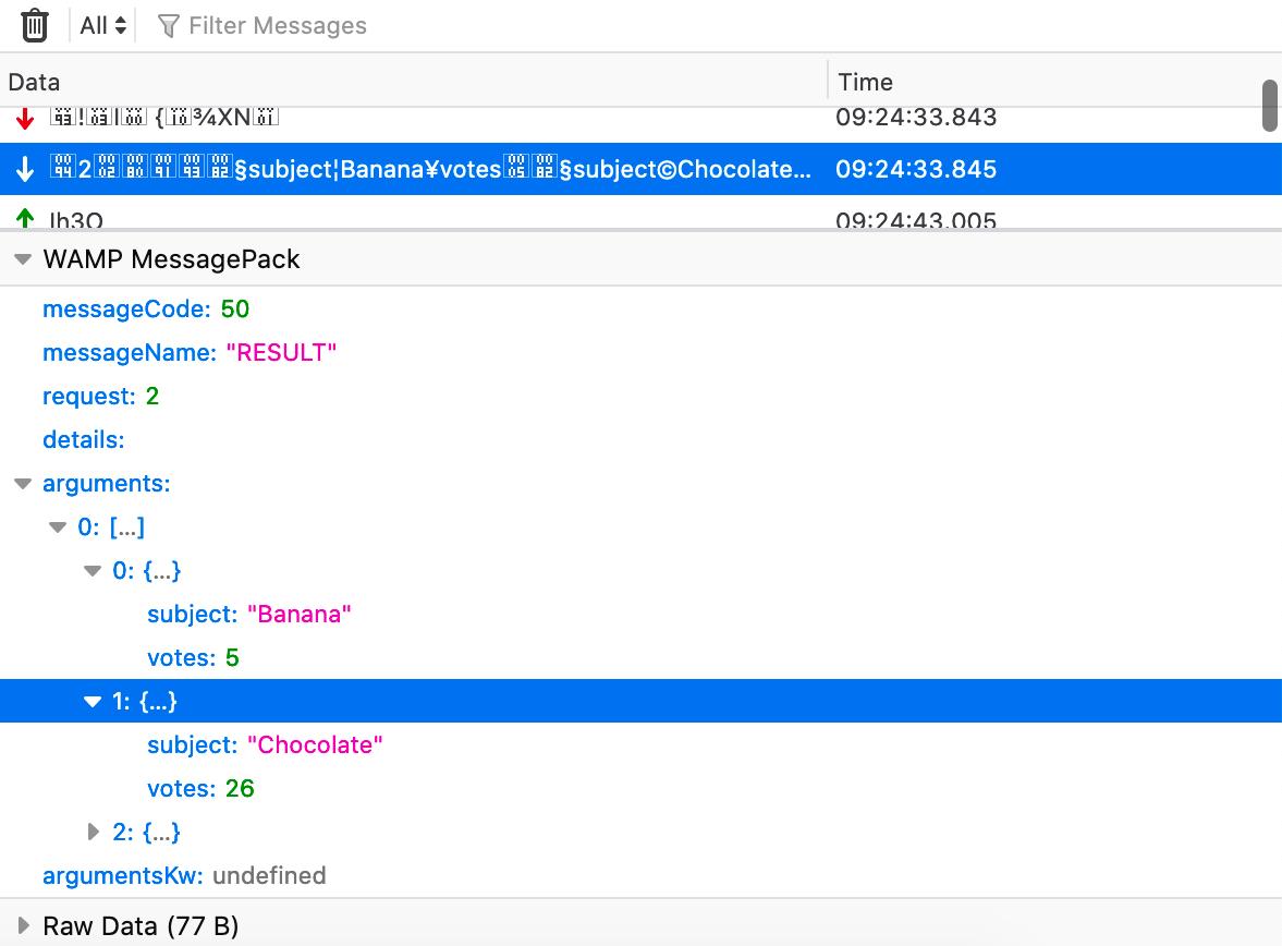 a screencapture showing WAMP MessagPack in the WebSocket Inspector