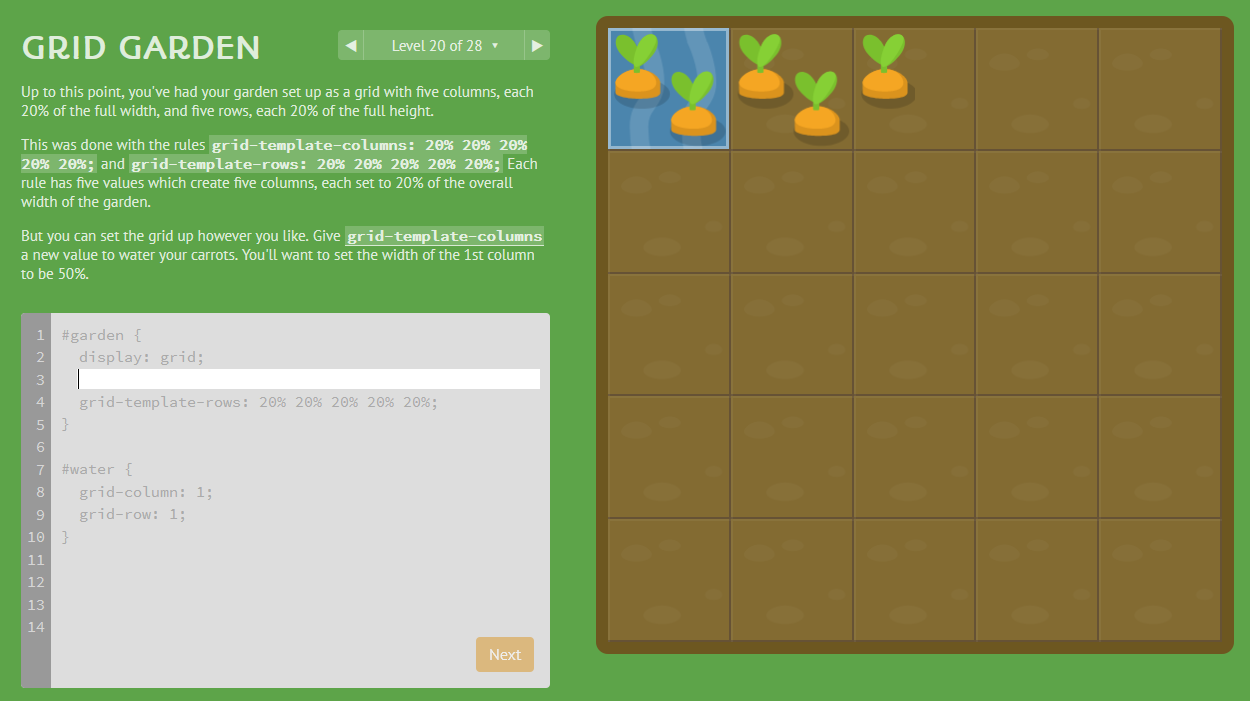 Screenshot of the Grid Garden where you can write CSS to grow pretend carrots