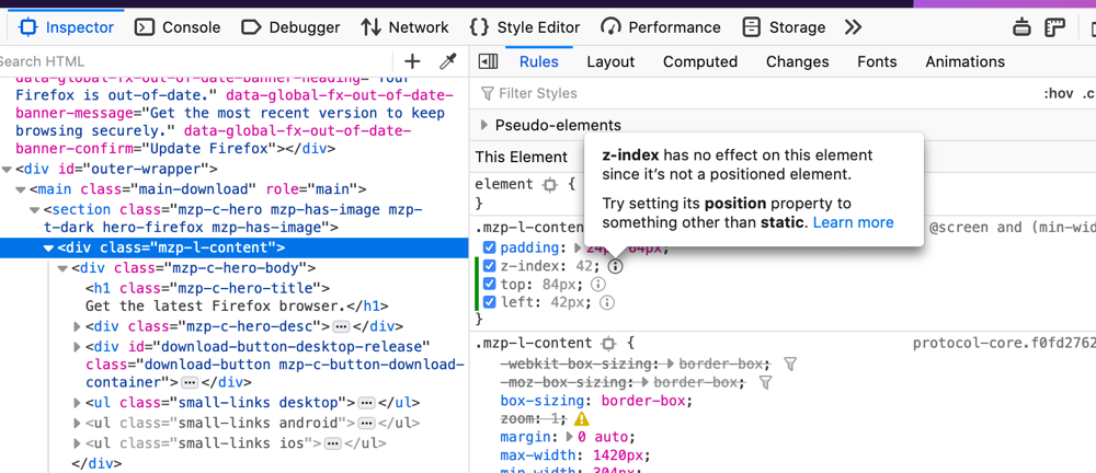 Firefox Page Inspector now showing inactive position-related properties such as z-index and top