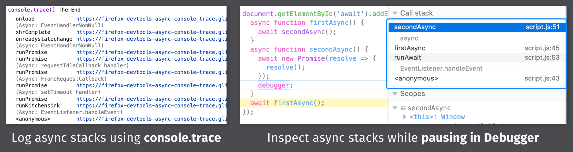 Async stacks add promise execution for both Console and Debugger