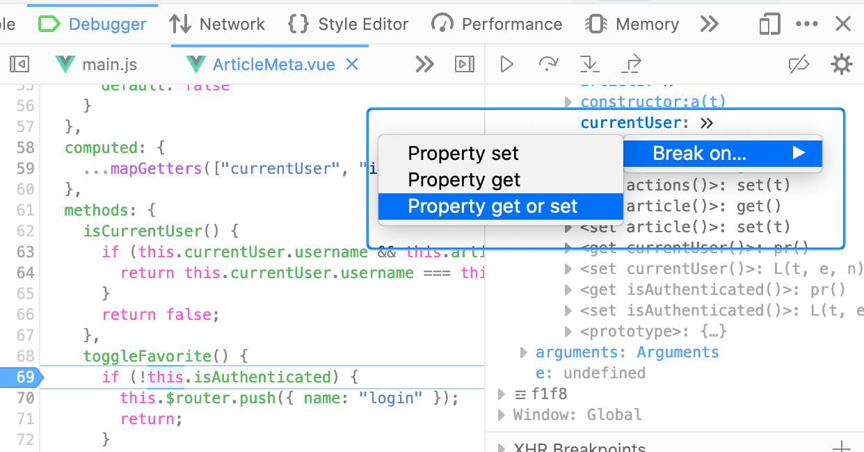 Right-click on object properties in Debugger's Scopes to break on get/set