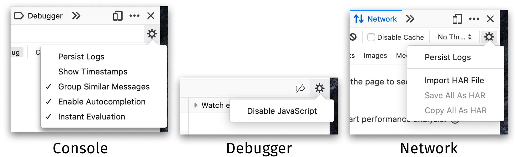 Overflow settings menus in both Network and Debugger toolbar.
