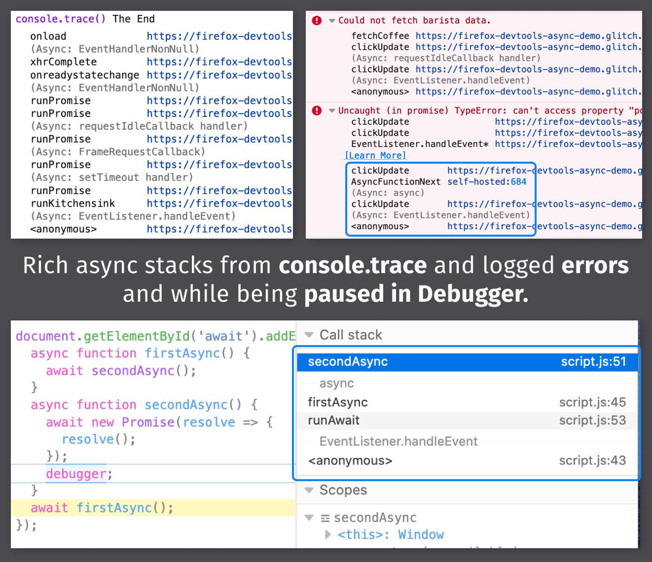 Async stacks in Console & Debugger