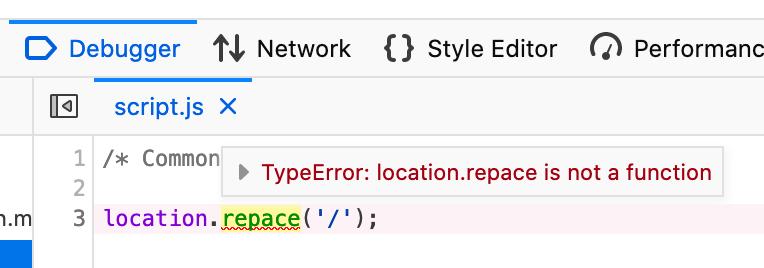 Error highlighted in the Debugger