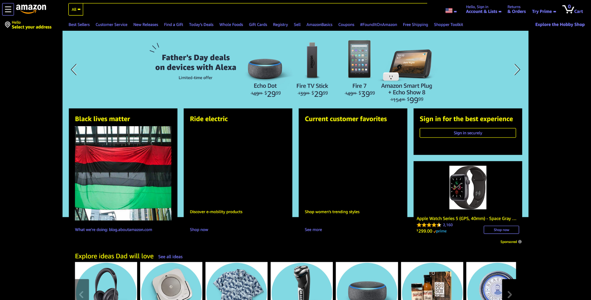 screenshot of high-contrast Amazon homepage with dark background