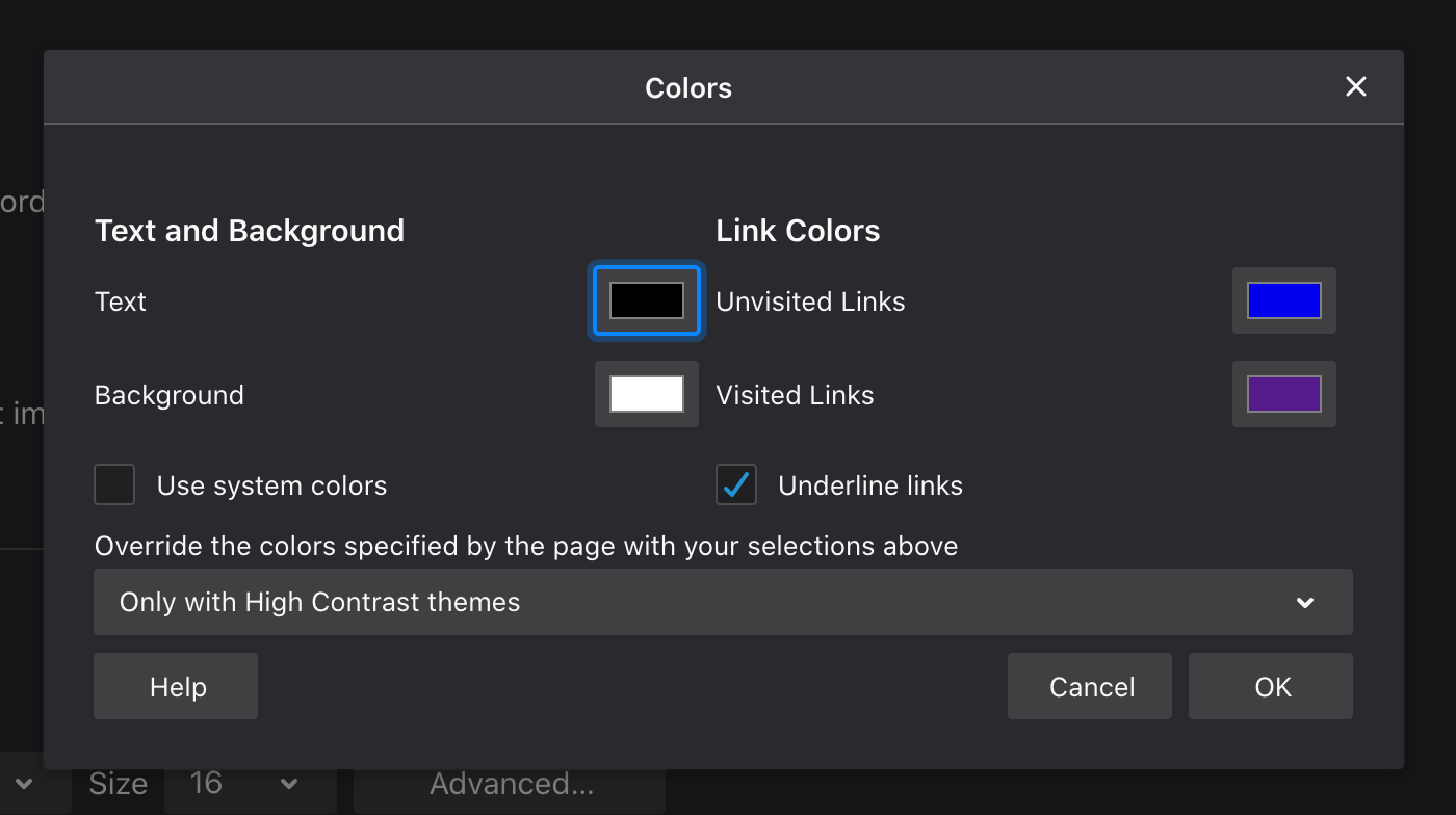 a screenshot of Firefox Forced Colors Menu on a dark background