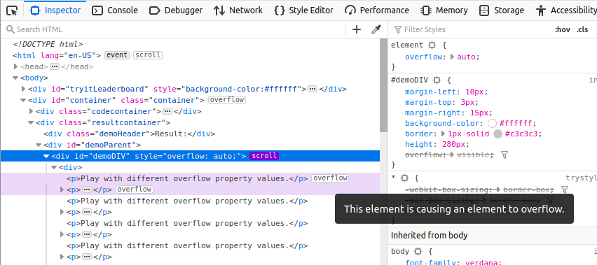 Firefox devtools screenshot showing an overflow badge next to a child element that is causing its parent to overflow