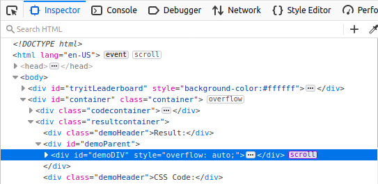 devtools page inspector showing a scroll badge next to an element that is scrolling