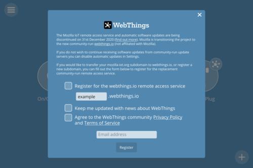 WebThings Gateway transition dialog